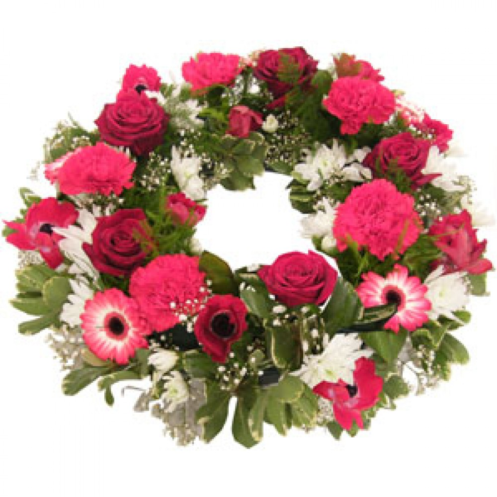 Funeral Wreath In Red And Pink Tulips And Holly Florist