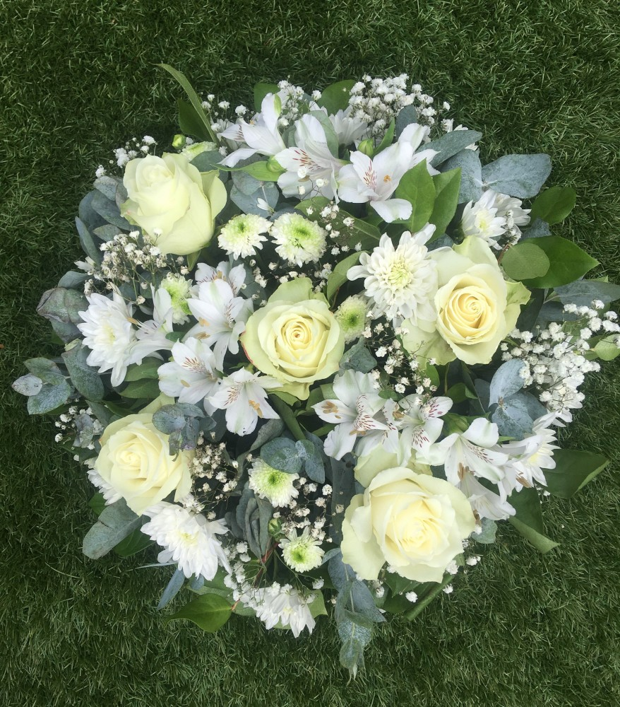 All White Funeral Posy Tulips And Holly Florist