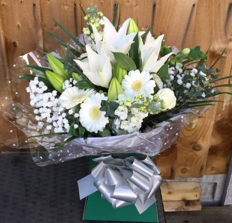 Bereavement White hand tied bouquet