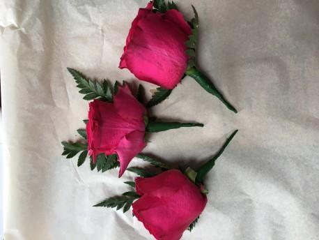 Dark Pink buttonholes x3
