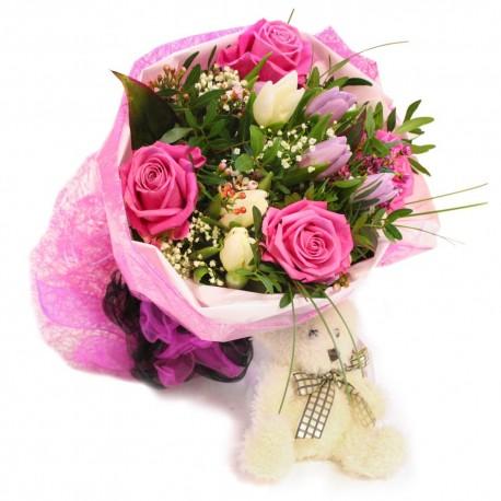 Flower Bouquet & Teddy