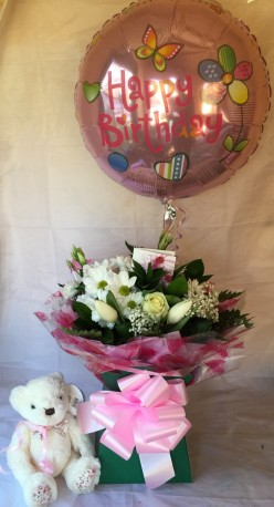 The full Monty Flower bouquet with Teddy/Balloon
