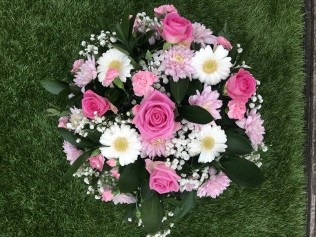 Pink and White Funeral posy pad