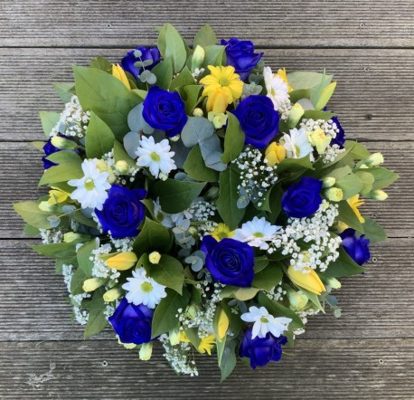 Blue Yellow and White Wreath