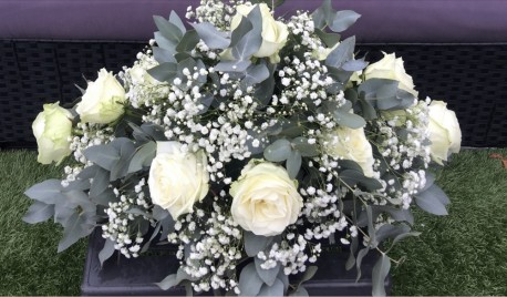 White Roses double ended Spray