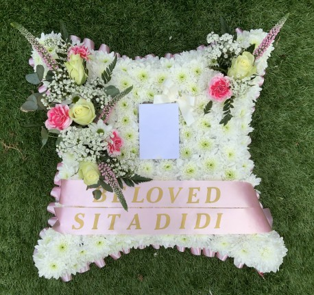 Pink Funeral Pillow with Photo