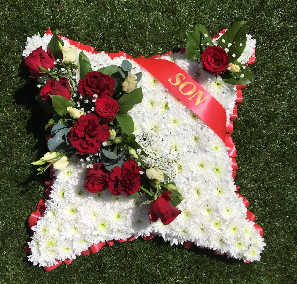 Son Funeral Pillow Tulips And Holly Florist