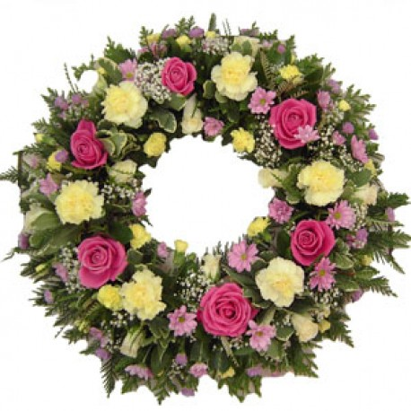 Funeral Wreath in Pink and yellow