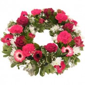 Bright Pink and Red Sympathy wreath