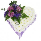 Funeral Flower Heart in Purple