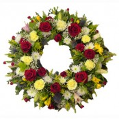 Red and Yellow Sympathy Wreath