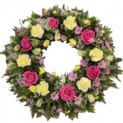 Pale Lemon and pink sympathy wreath