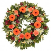 Orange and Red Funeral Wreath
