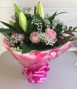 Roses & Lily's Hand Tied Bouquet