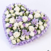 Funeral Heart Lilac and White