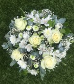 All White Funeral Posy